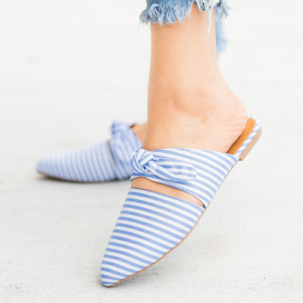 Womens Gorgeous Printed Bow Mule Flats - Qupid Shoes