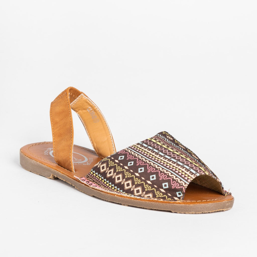 Womens Gorgeous Printed Slingback Peep-Toe Sandals - Refresh - Camel / 5