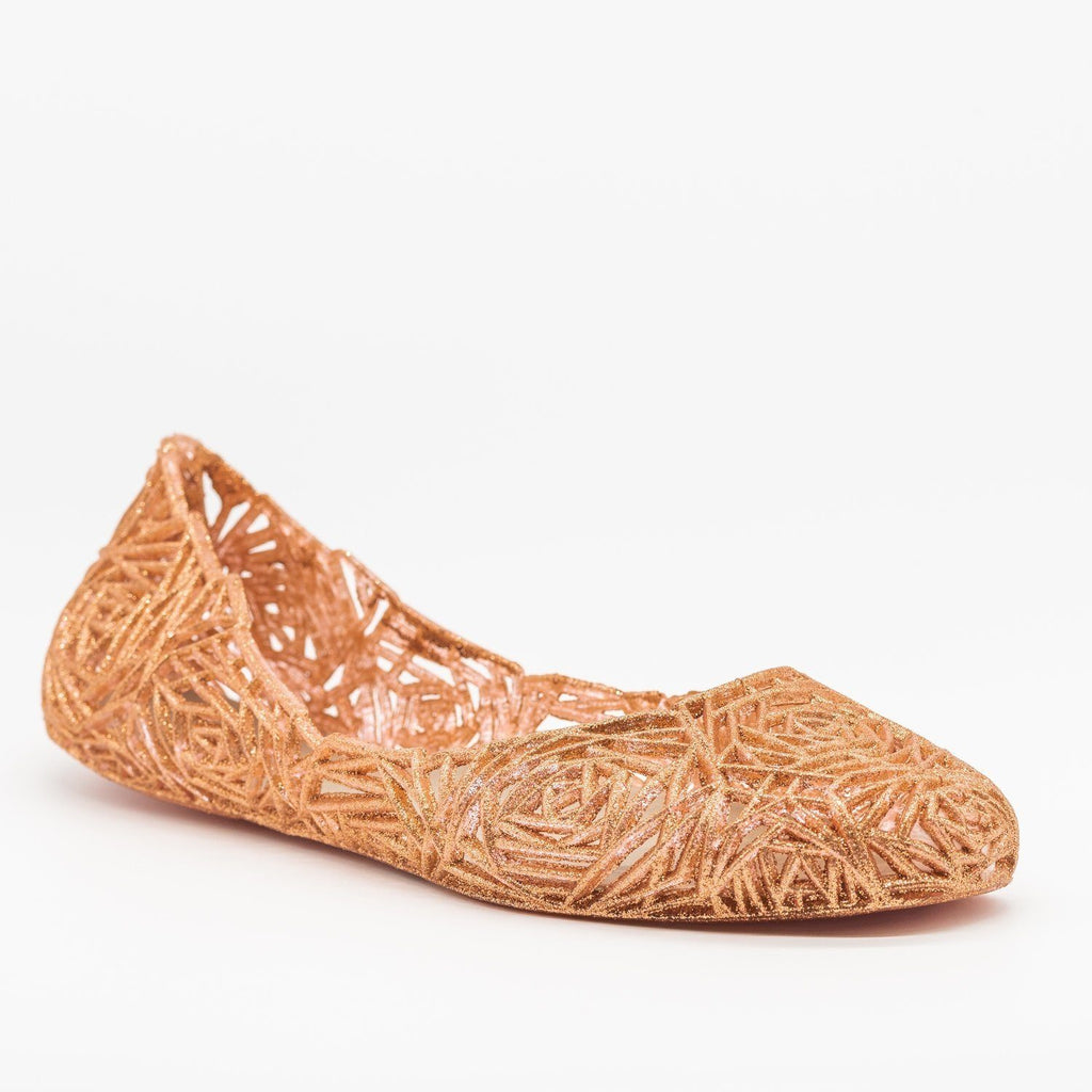 Womens Gorgeous Rose Design Glitter Jelly Flats - Anna Shoes - Rose Gold / 5