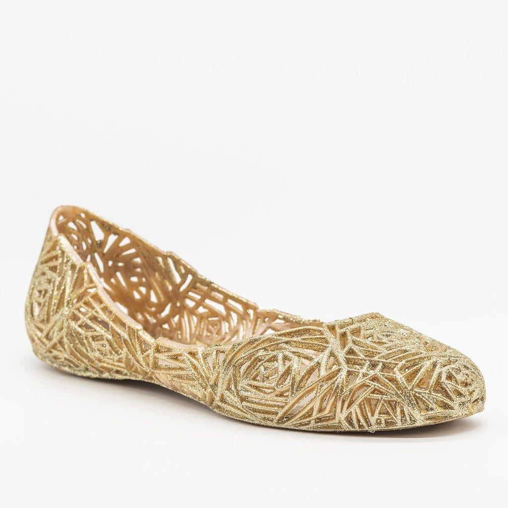 Womens Gorgeous Rose Design Glitter Jelly Flats - Anna Shoes - Gold / 5