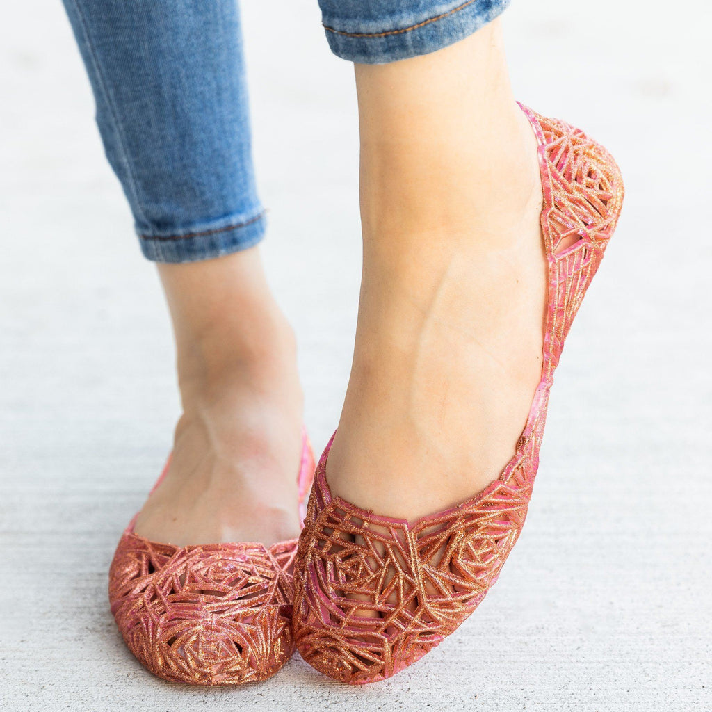 Womens Gorgeous Rose Design Glitter Jelly Flats - Anna Shoes
