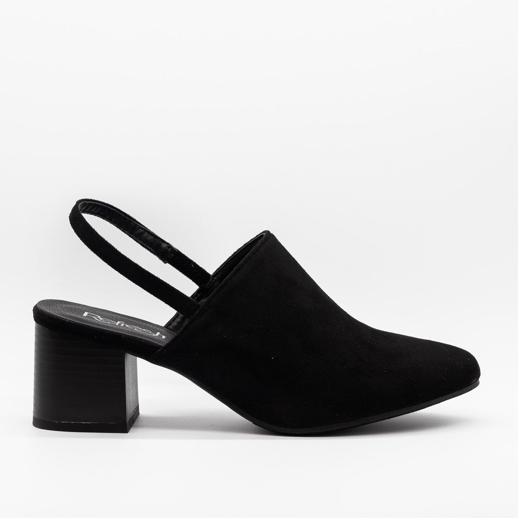Womens Gorgeous Slingback Low Heels - Refresh - Black / 5