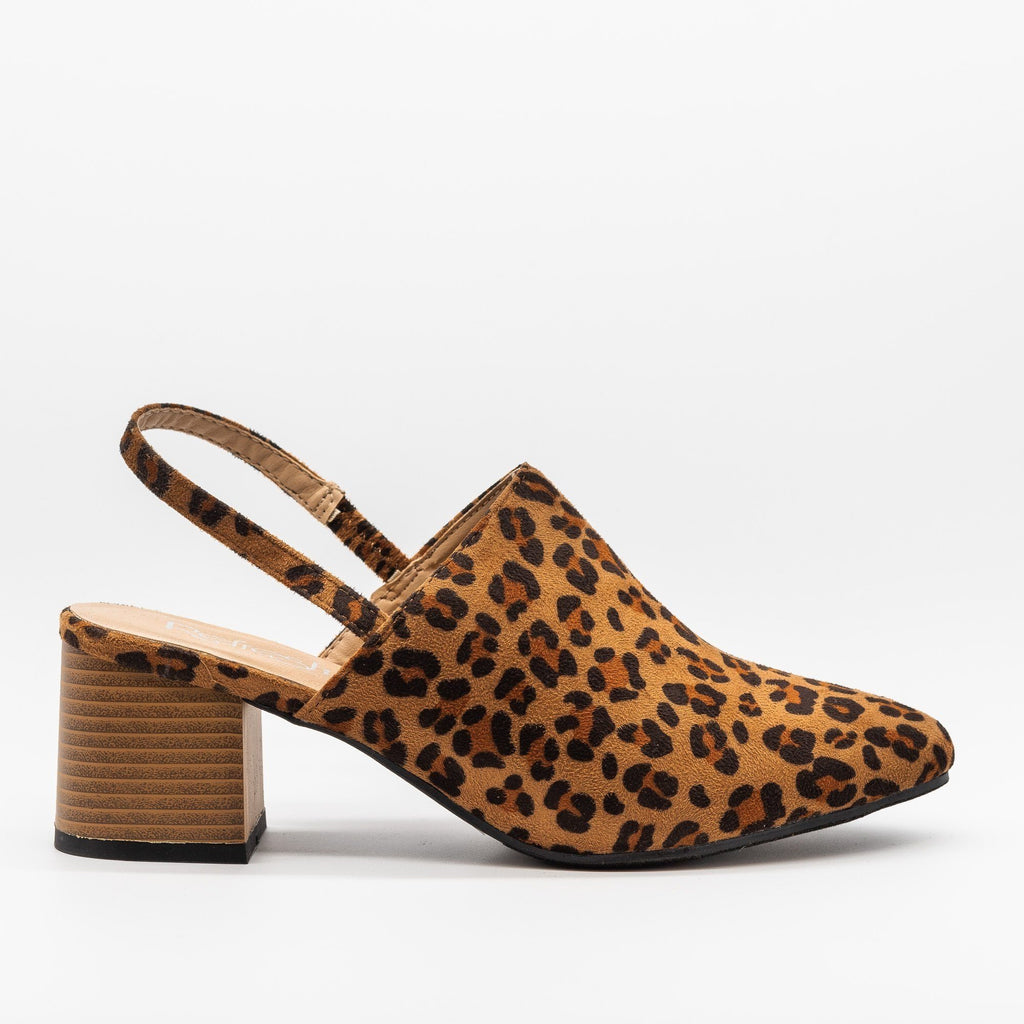 Womens Gorgeous Slingback Low Heels - Refresh - Leopard / 5