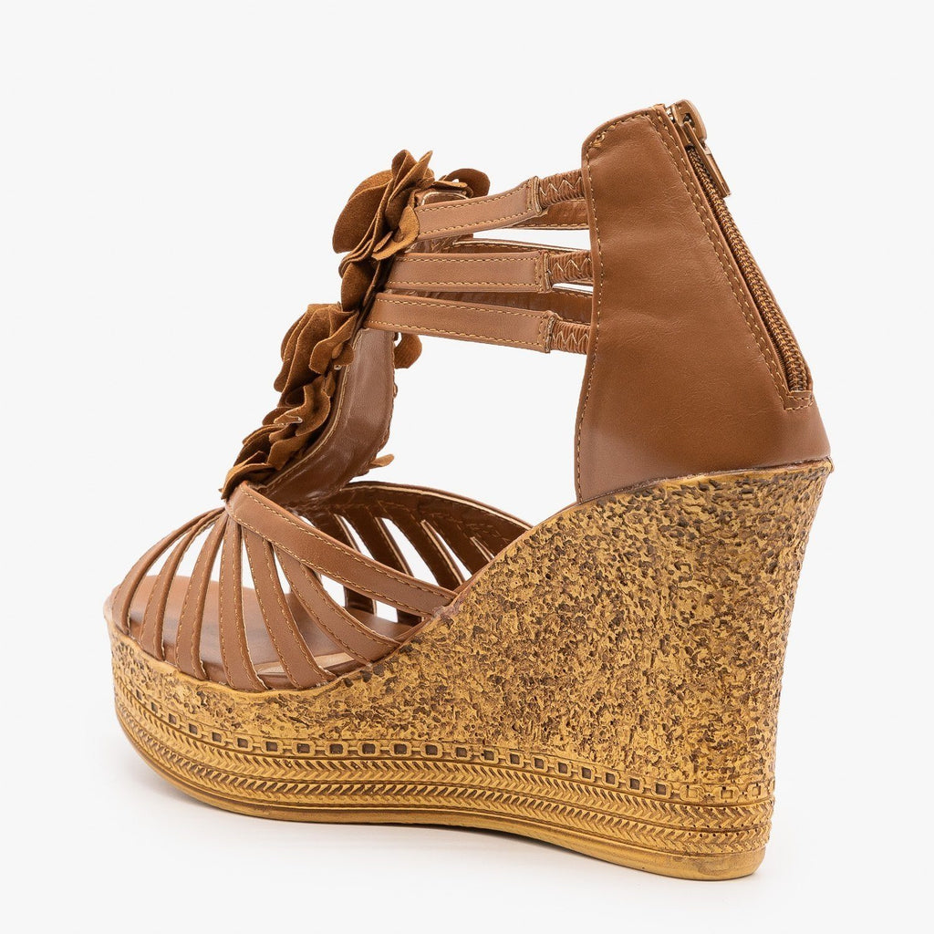 Womens Gorgeous Stappy Flower Wedges - Refresh