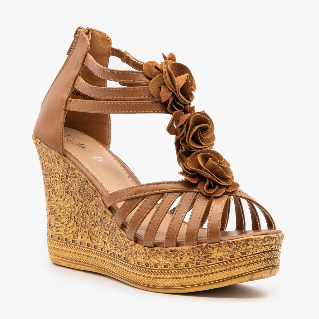 Womens Gorgeous Stappy Flower Wedges - Refresh - Tan / 5