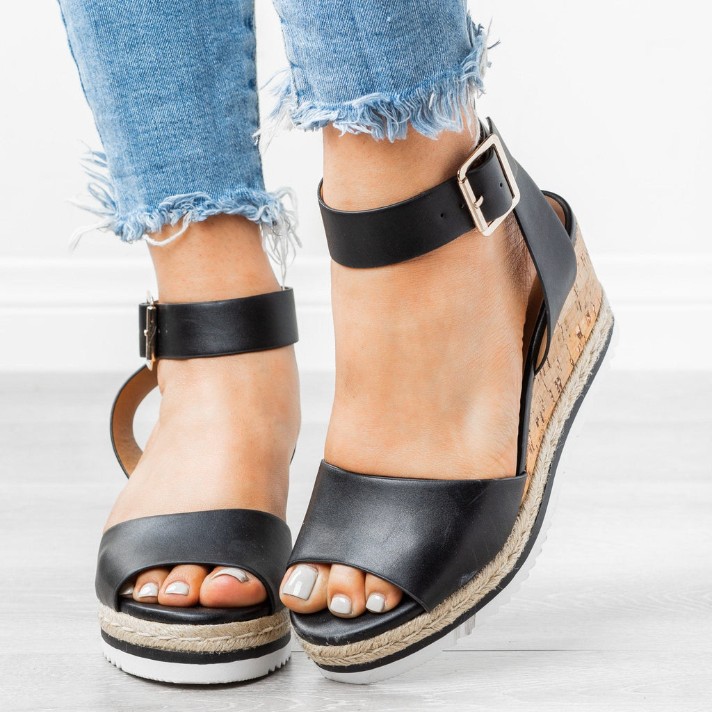 Womens Gorgeous Summer Wedges - City Classified Shoes - Black / 5