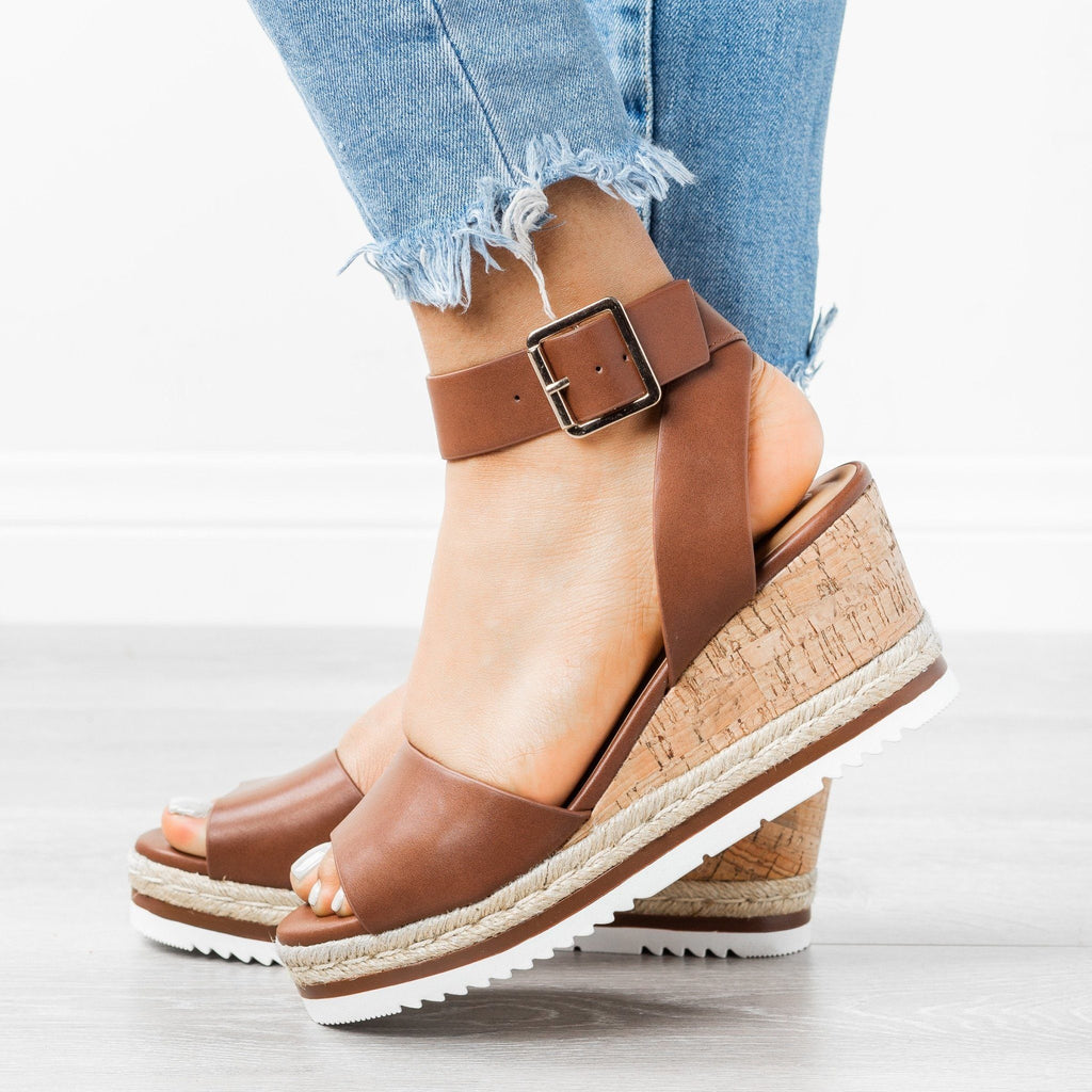 Womens Gorgeous Summer Wedges - City Classified Shoes - Light Brown / 5