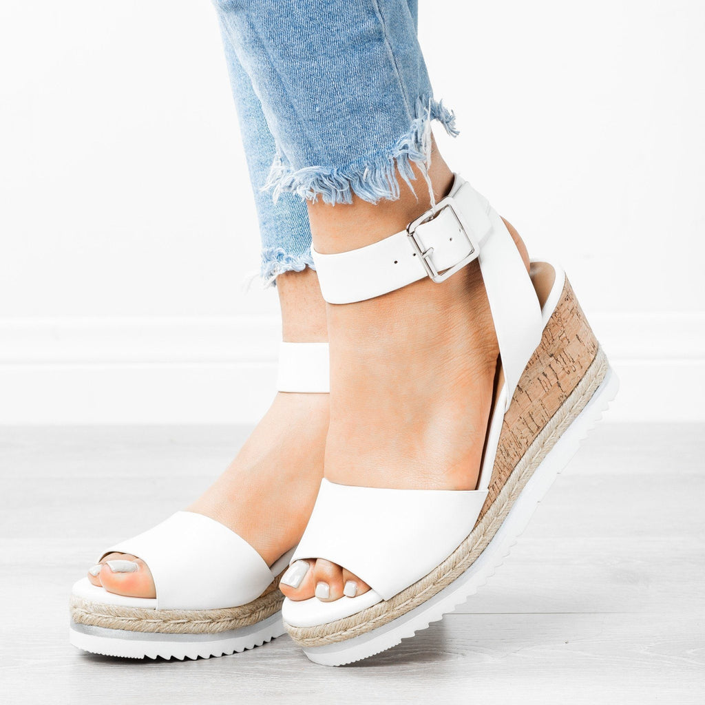 Womens Gorgeous Summer Wedges - City Classified Shoes - White / 5