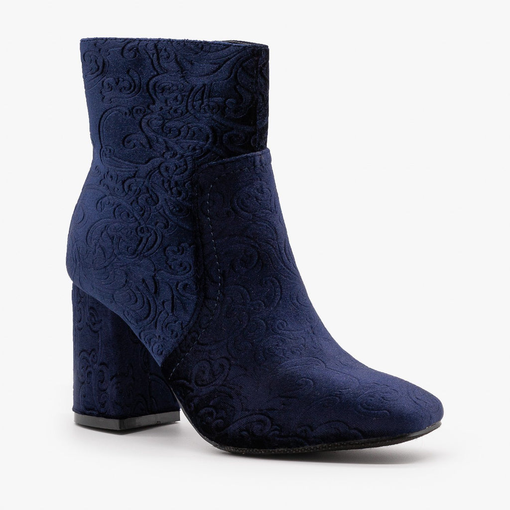 Womens Gorgeous Velvet Booties - Refresh - Navy / 5