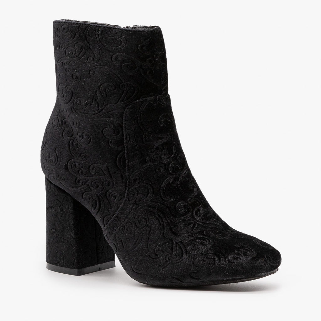 Womens Gorgeous Velvet Booties - Refresh - Black / 5