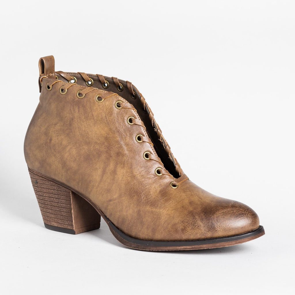 Womens Grommet Laced Fashion Booties - Mata - Taupe / 5