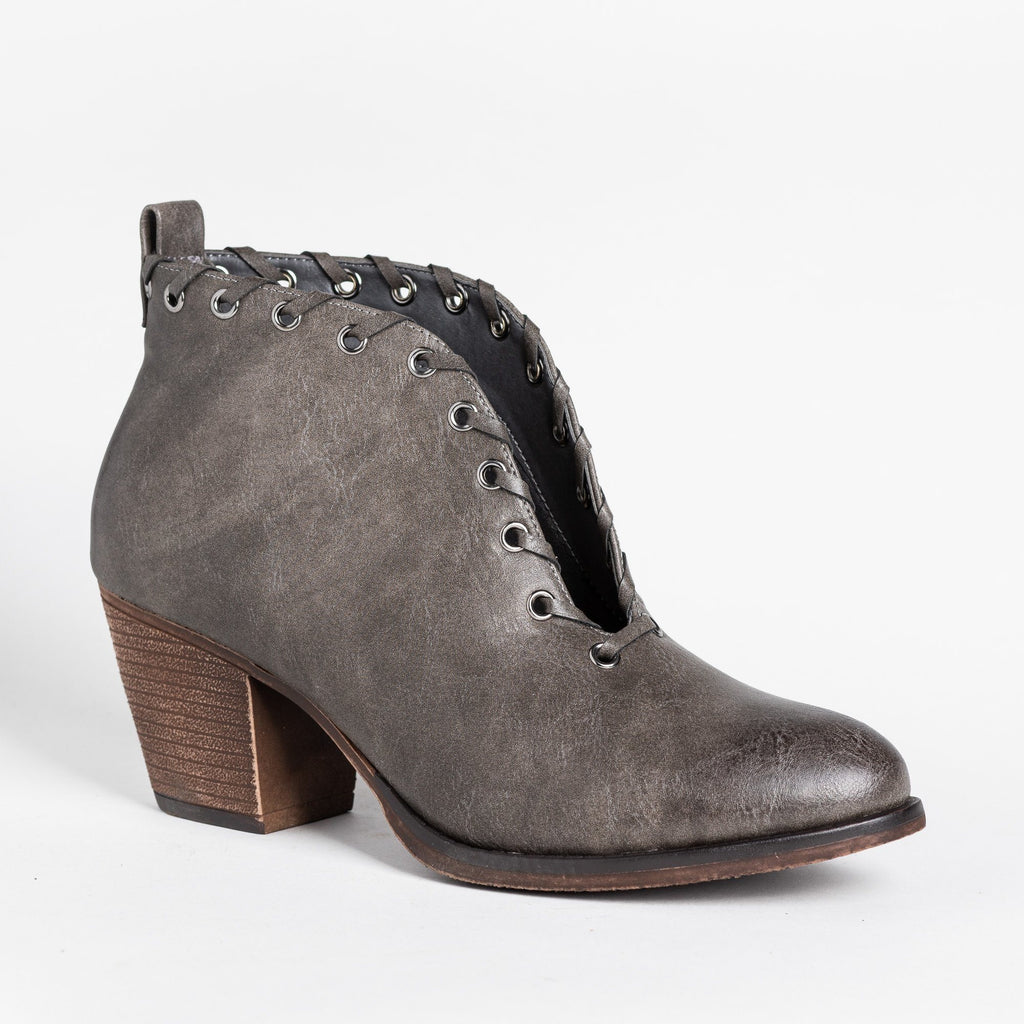 Womens Grommet Laced Fashion Booties - Mata - Gray / 5