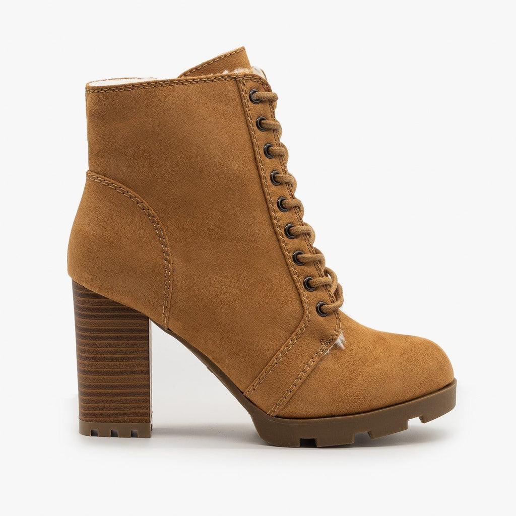 Womens High Heel Lace Up Booties - Bamboo Shoes