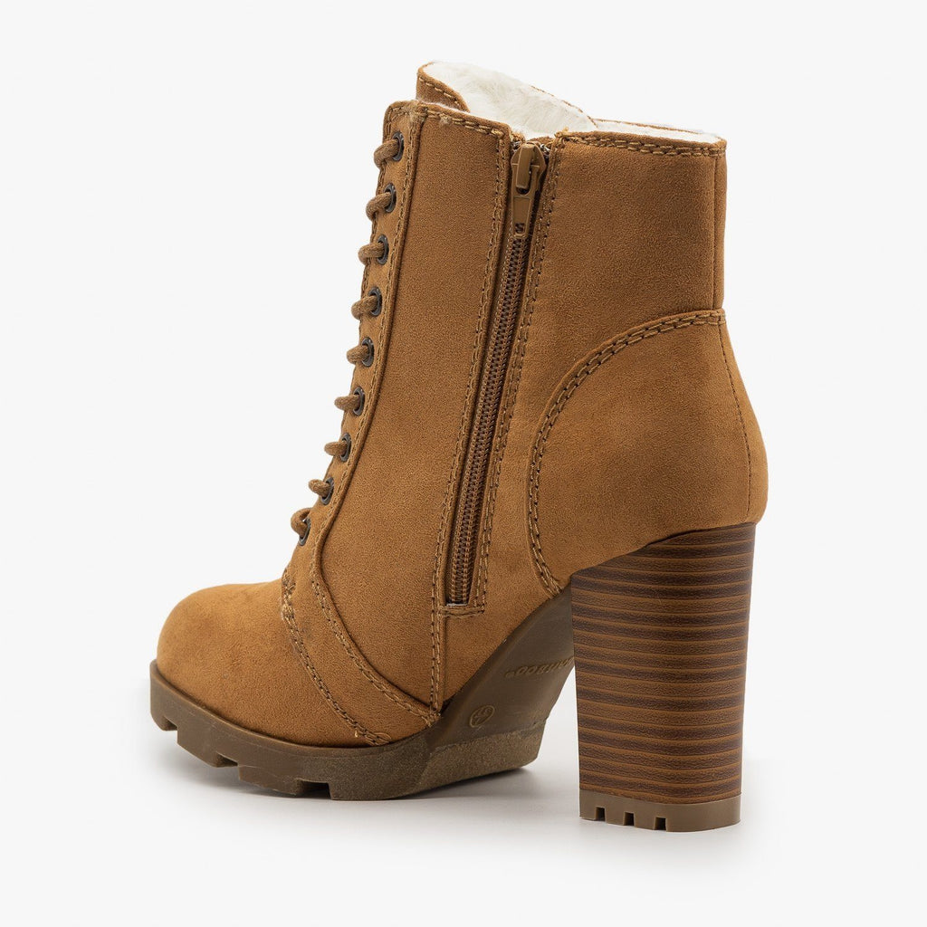 High Heel Lace Up Booties - Bamboo
