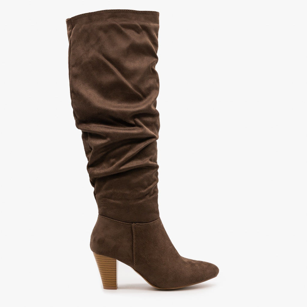 Womens High Heel Slouchy Boots - Refresh - Mocha / 5