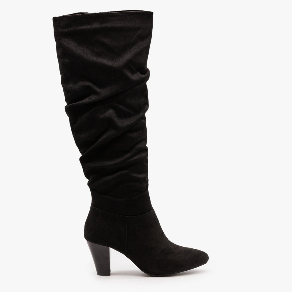 Womens High Heel Slouchy Boots - Refresh - Black / 5