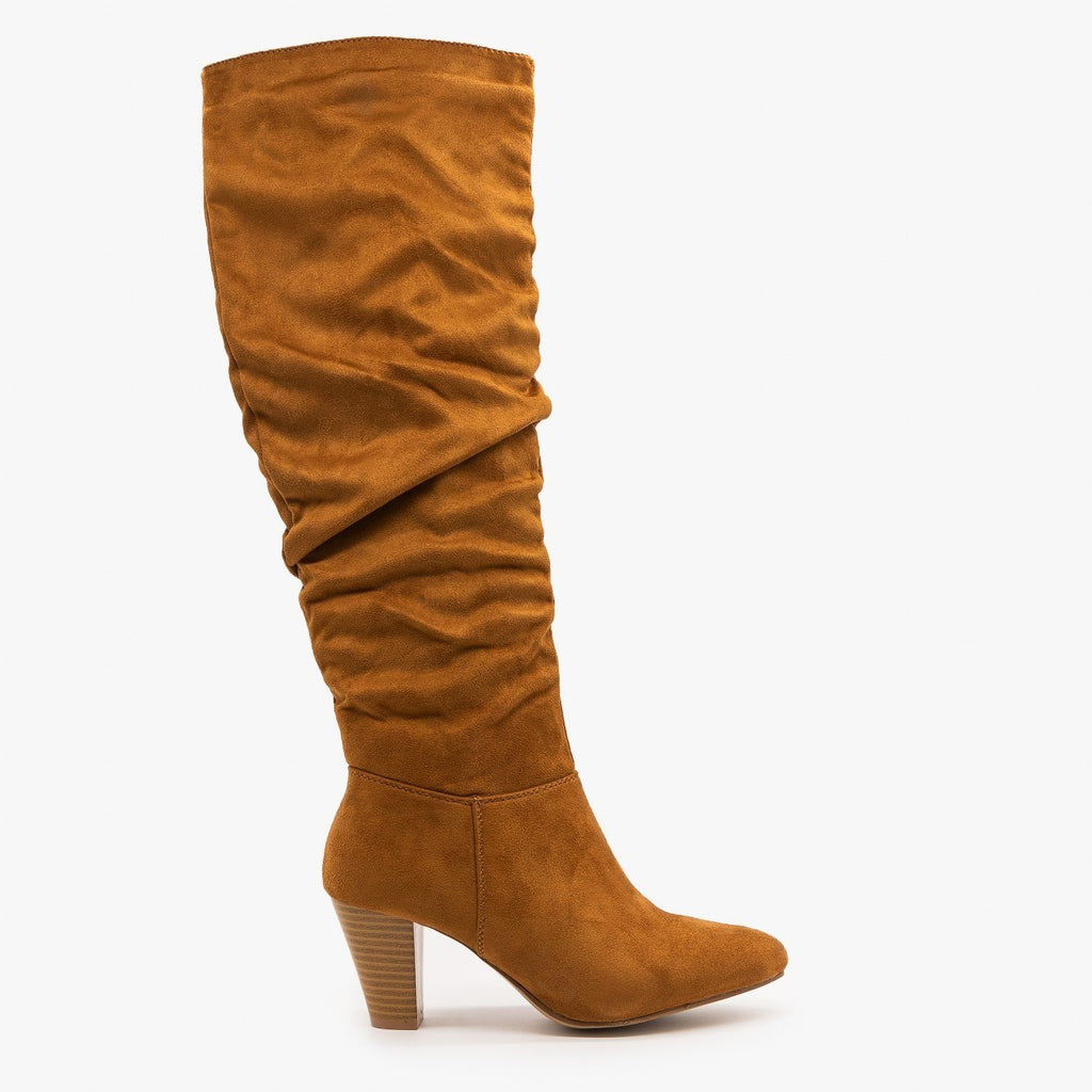 Womens High Heel Slouchy Boots - Refresh - Camel / 5