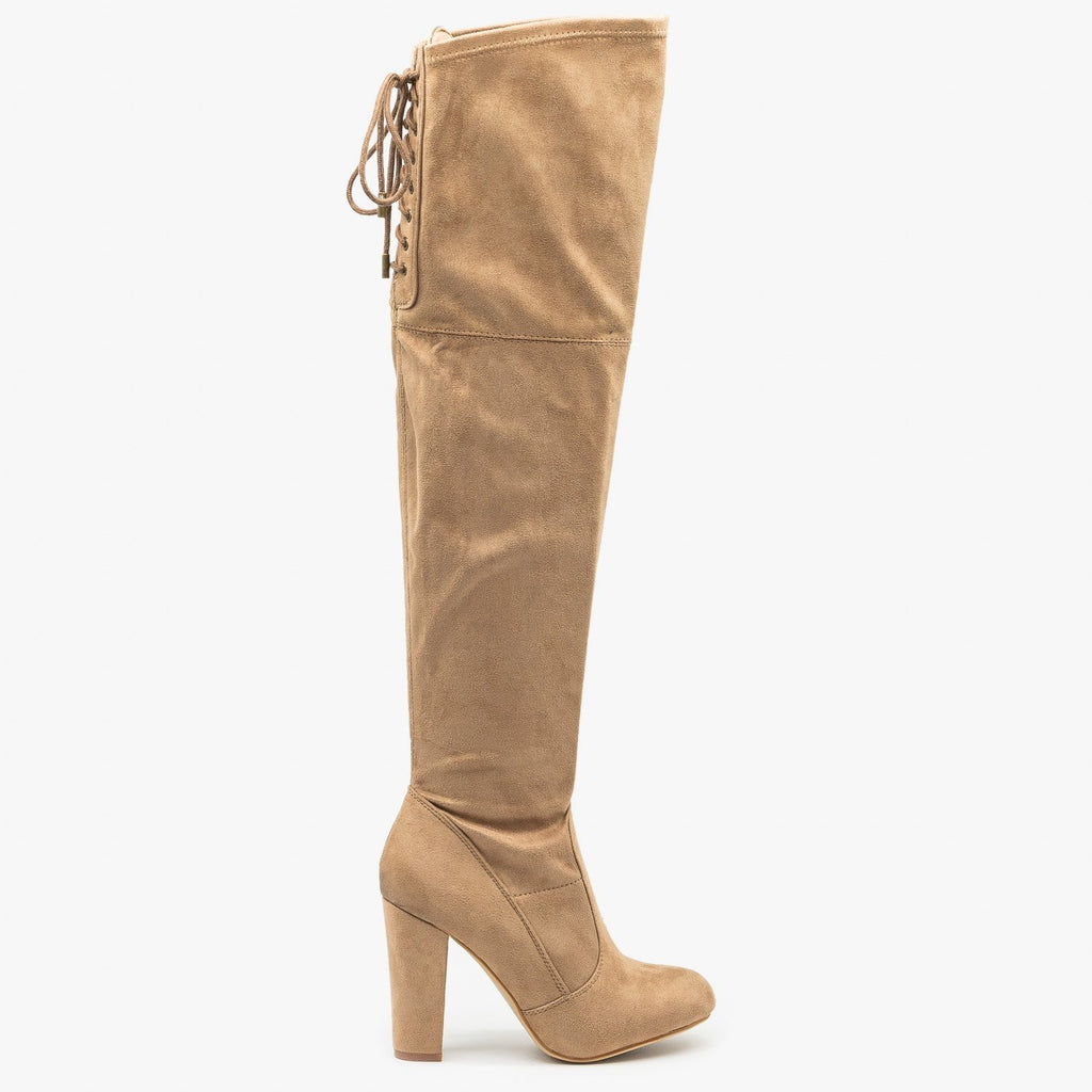 Womens High Heel Thigh High Boots - Refresh - Taupe / 5
