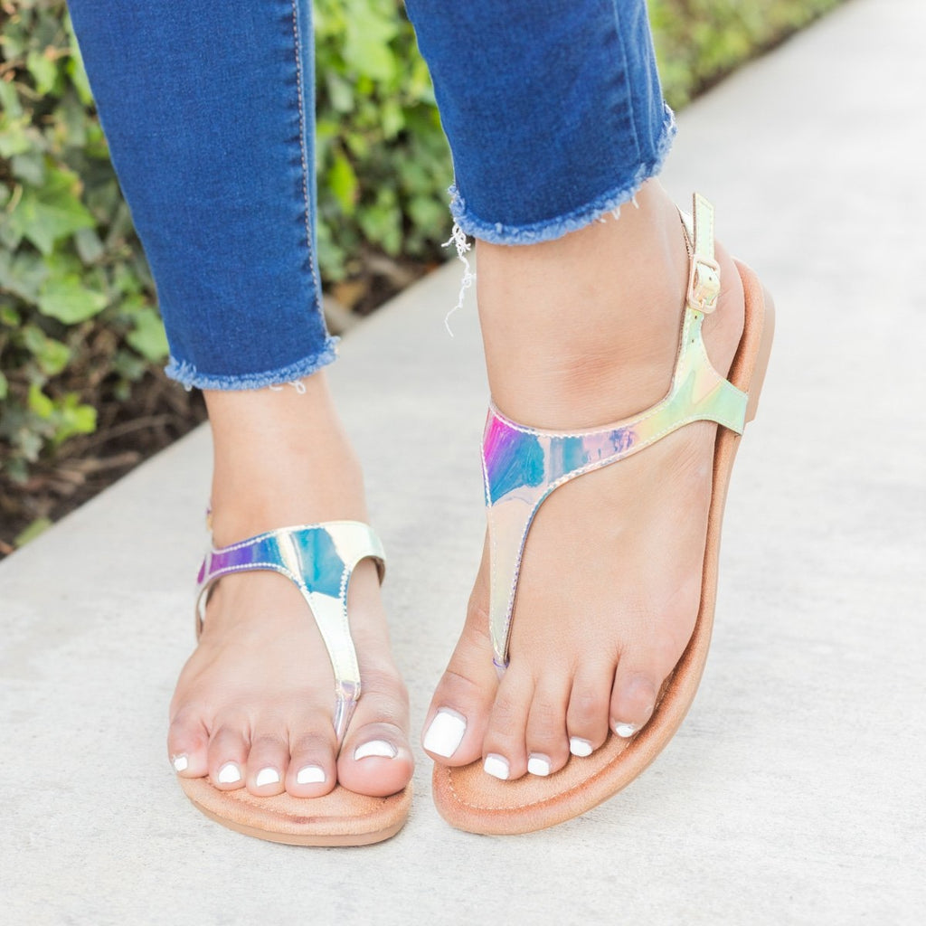 Womens Holographic Thong-Toed Sandals - Forever - Champagne / 5