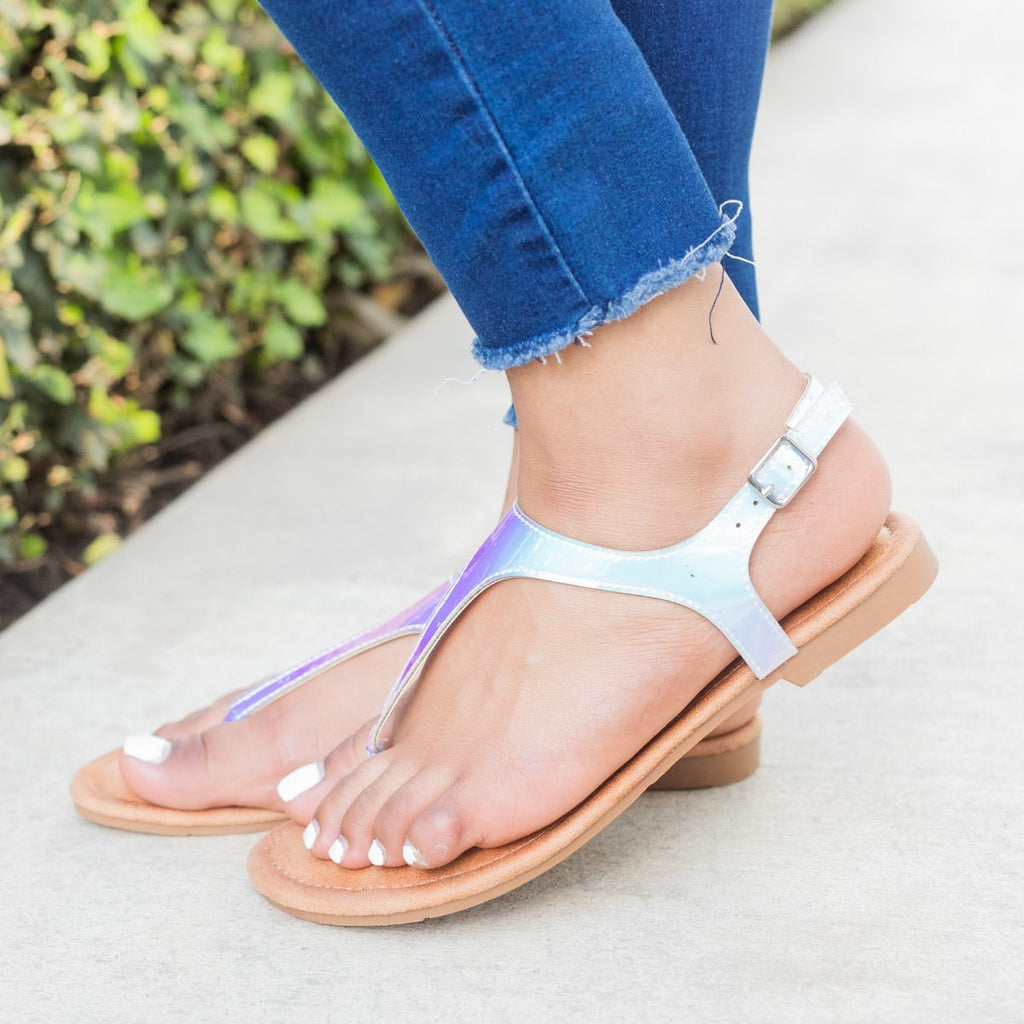 Womens Holographic Thong-Toed Sandals - Forever - White / 5