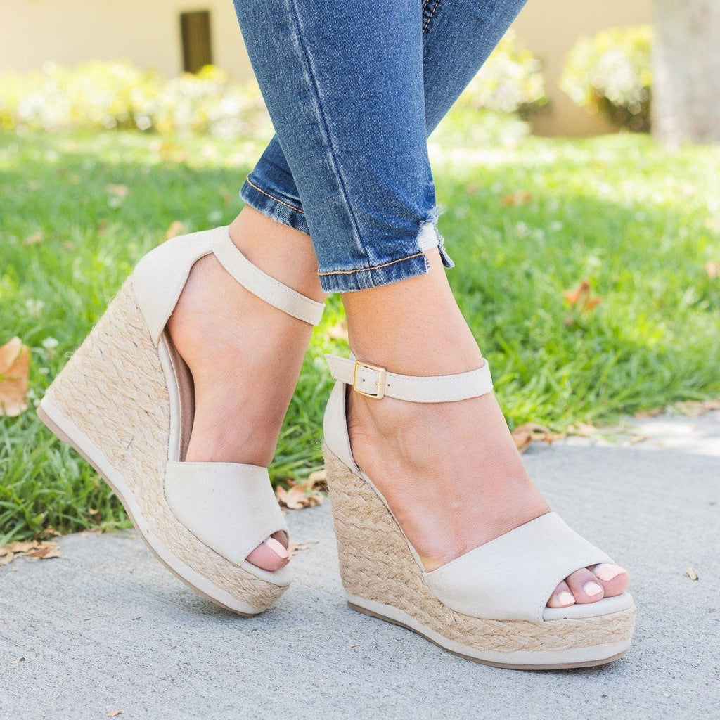 Womens Hot Summer Espadrille Wedges - Beast Shoes - Nude / 5