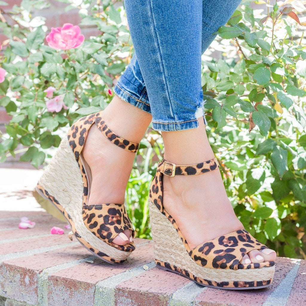 Womens Hot Summer Espadrille Wedges - Beast Shoes - Leopard / 5