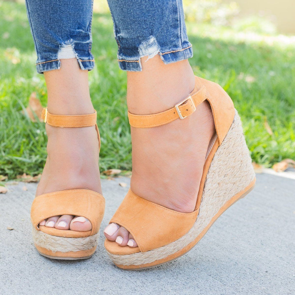 Womens Hot Summer Espadrille Wedges - Beast Shoes - Camel / 5