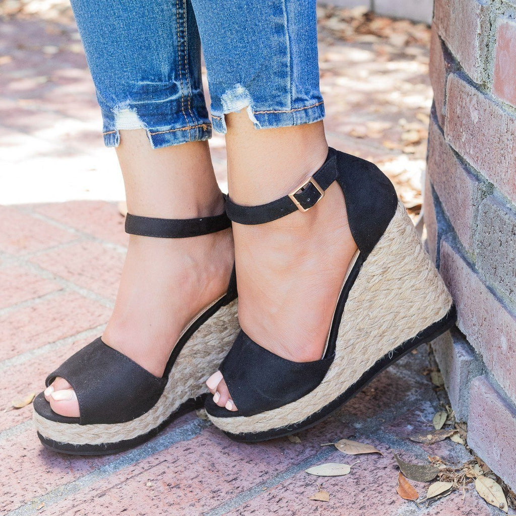 Womens Hot Summer Espadrille Wedges - Beast Shoes - Black / 5