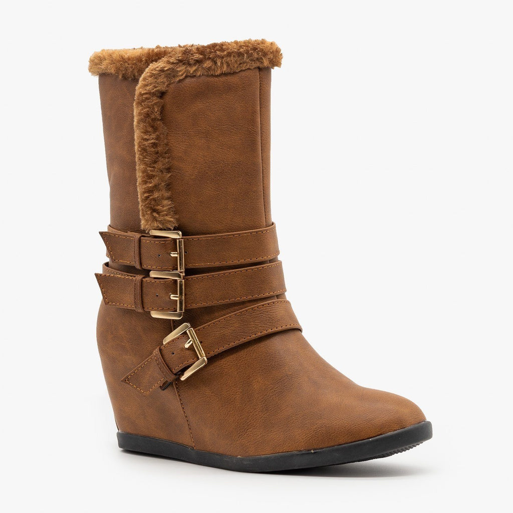 Womens Inner Wedge Triple-Buckled Boots - Reneeze Shoes
