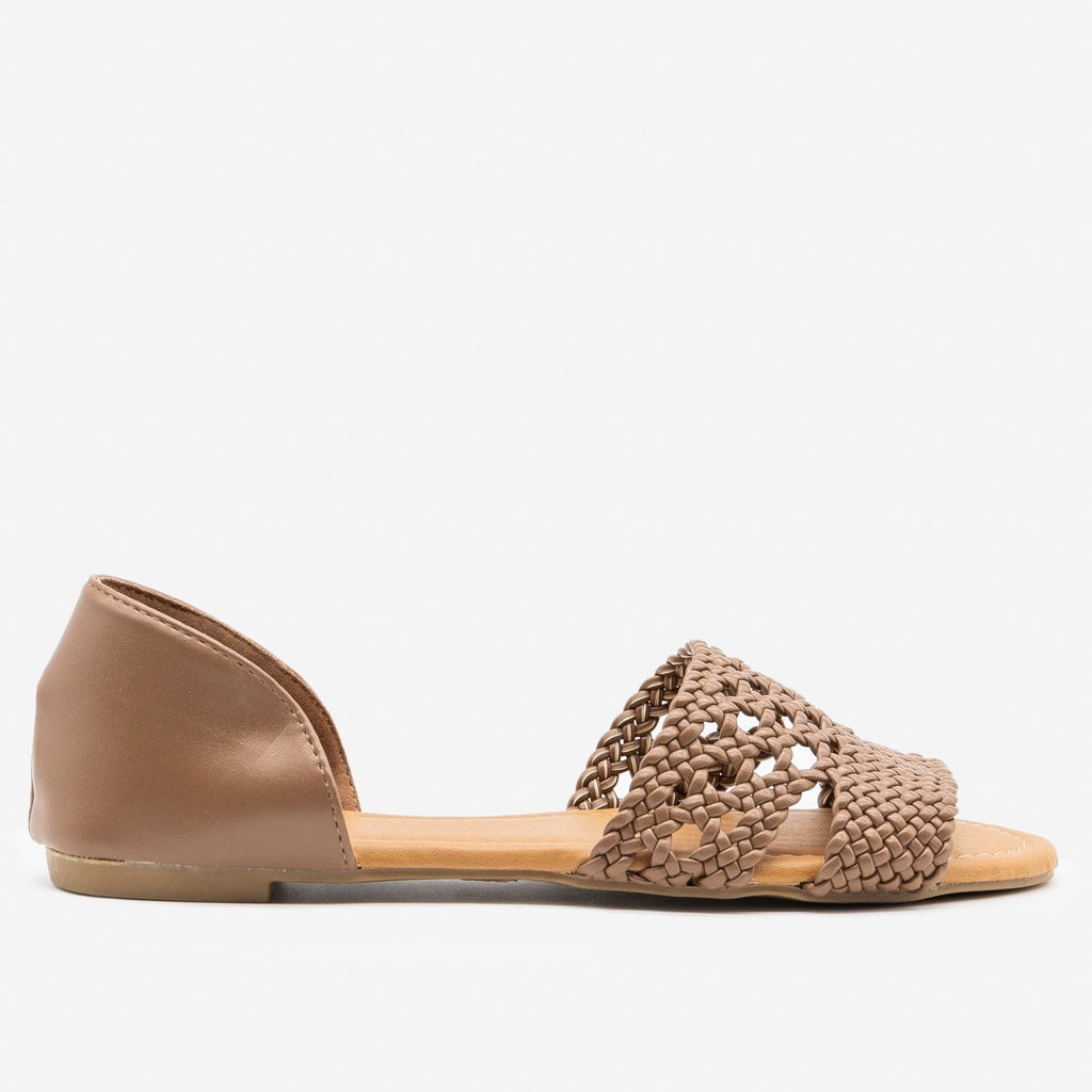 Women's Intricately Woven Peep Toe Flats - Qupid Shoes - Taupe / 5
