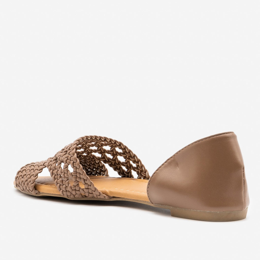 Women's Intricately Woven Peep Toe Flats - Qupid Shoes