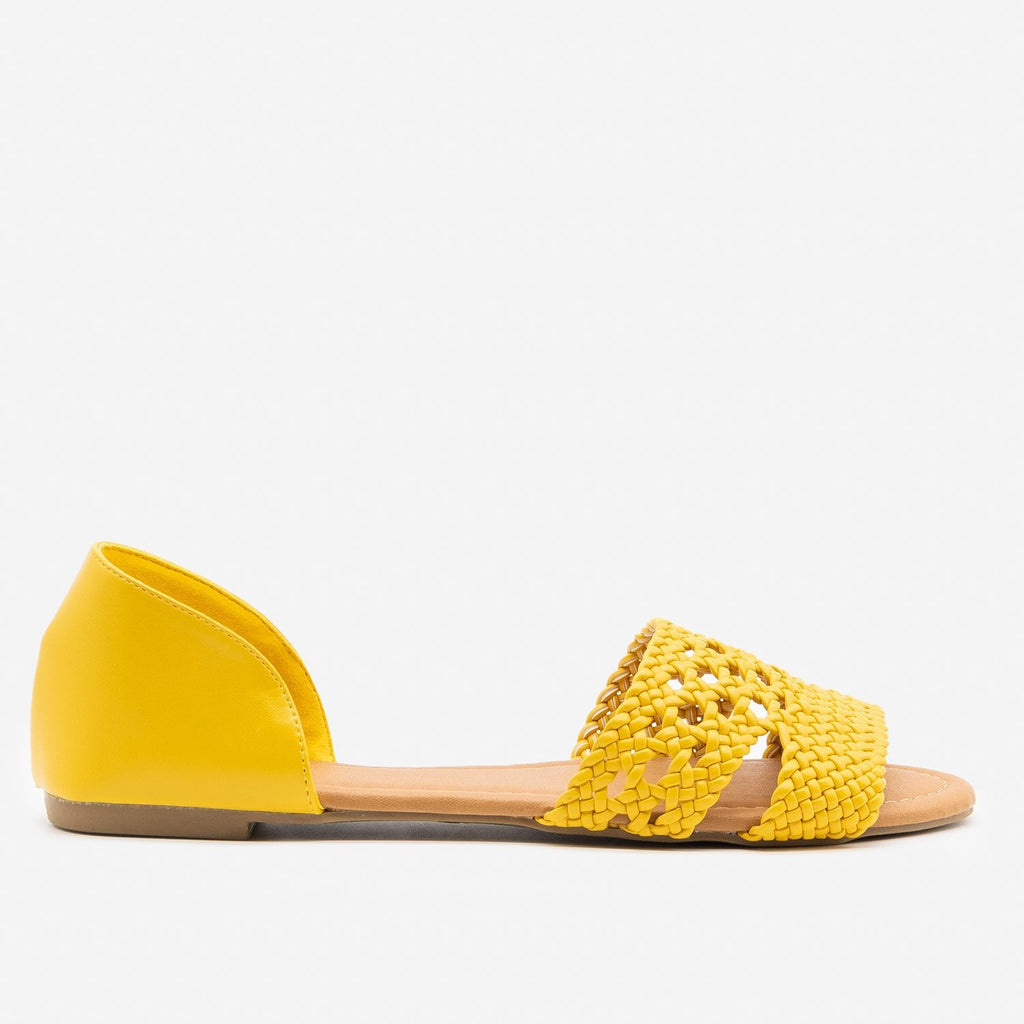 Women's Intricately Woven Peep Toe Flats - Qupid Shoes - Yellow / 5