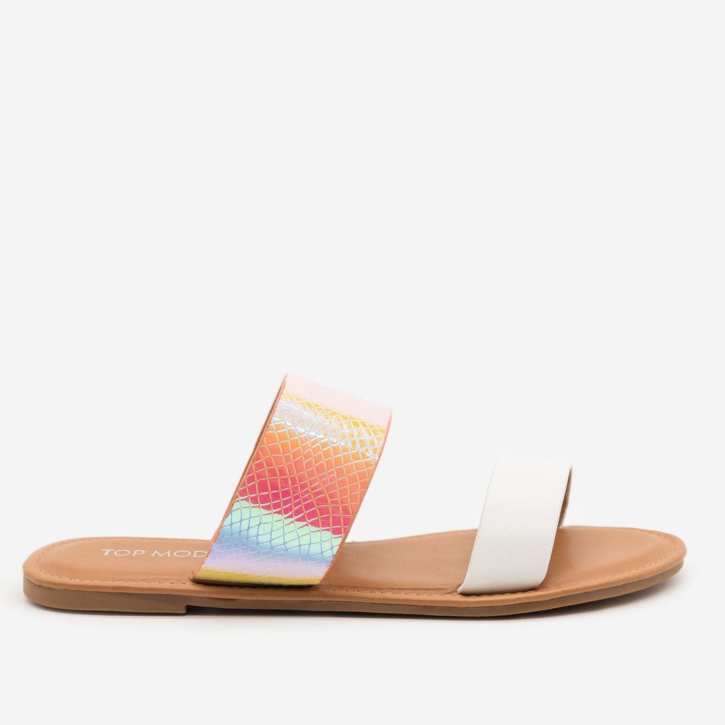Women's Iridescent Rainbow Snake Sandals - Top Moda - White / 5