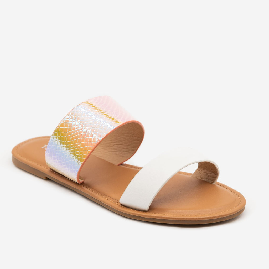 Women's Iridescent Rainbow Snake Sandals - Top Moda