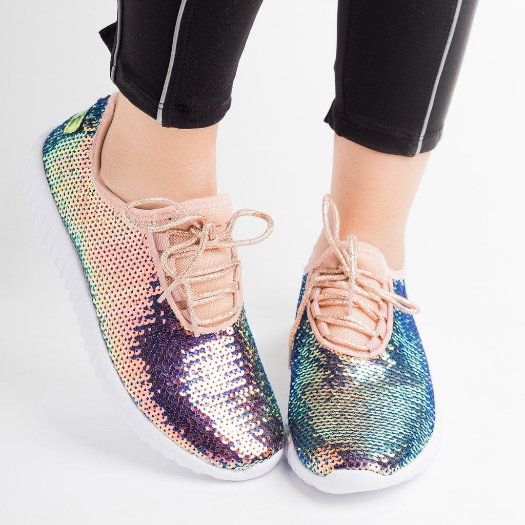 Womens Iridescent Sequin Sneakers - Forever - Gold / 5