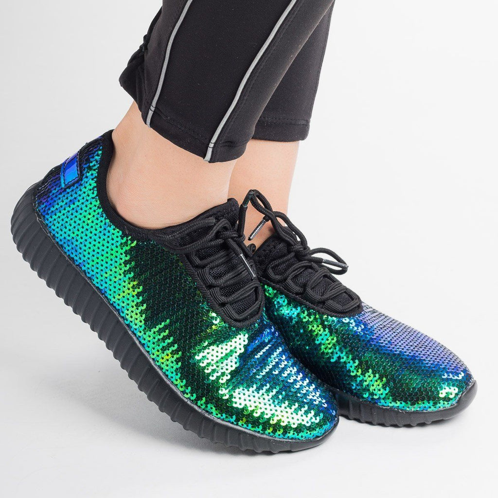 Womens Iridescent Sequin Sneakers - Forever - Blue / 5