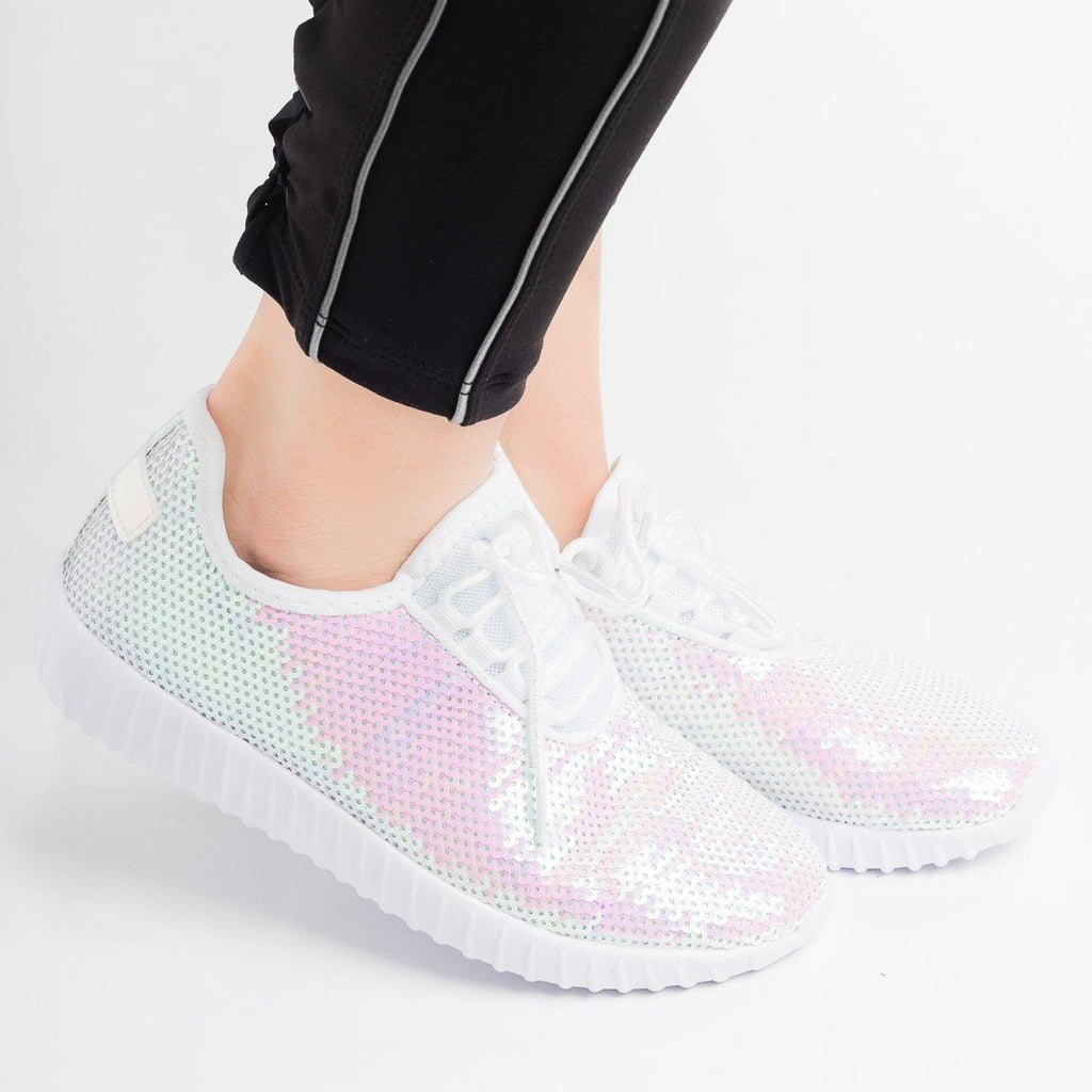 Womens Iridescent Sequin Sneakers - Forever - White / 5