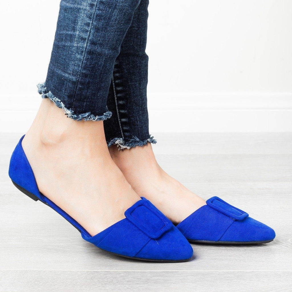 Womens Jumbo Buckle Pointed Toe Flats - Bamboo Shoes