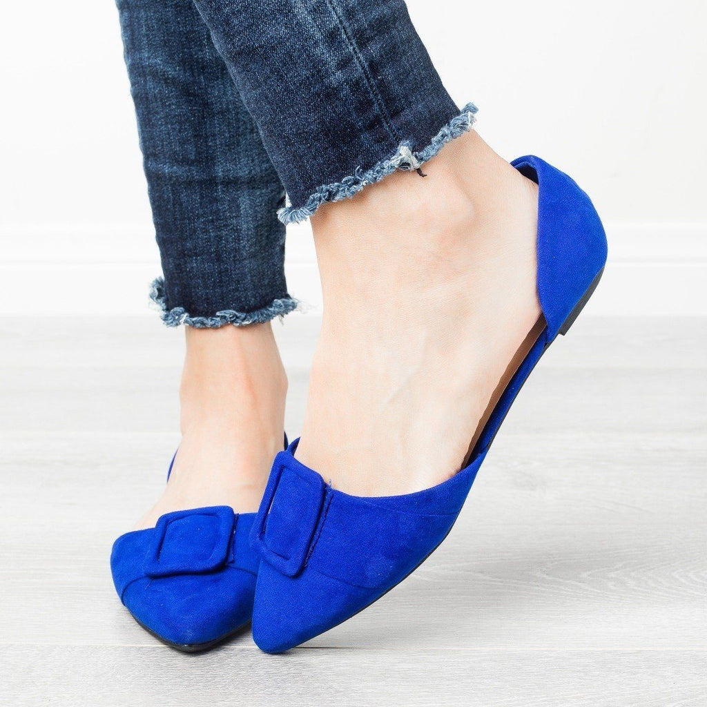 Womens Jumbo Buckle Pointed Toe Flats - Bamboo Shoes - Electric Blue / 5