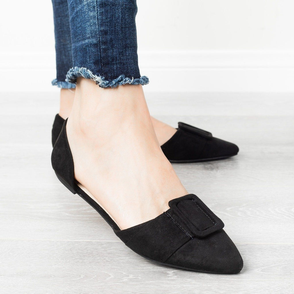 Womens Jumbo Buckle Pointed Toe Flats - Bamboo Shoes - Black / 10