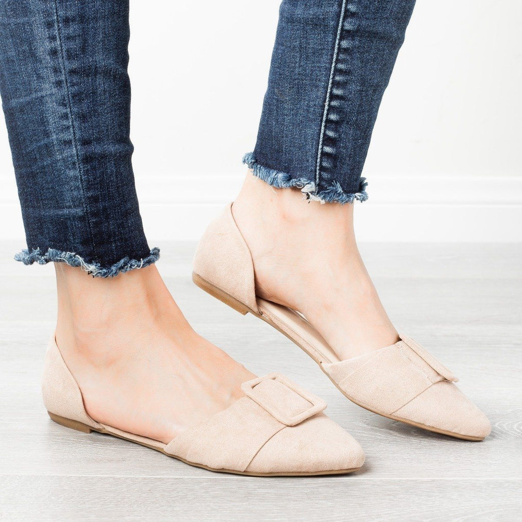 Womens Jumbo Buckle Pointed Toe Flats - Bamboo Shoes - Nude / 5