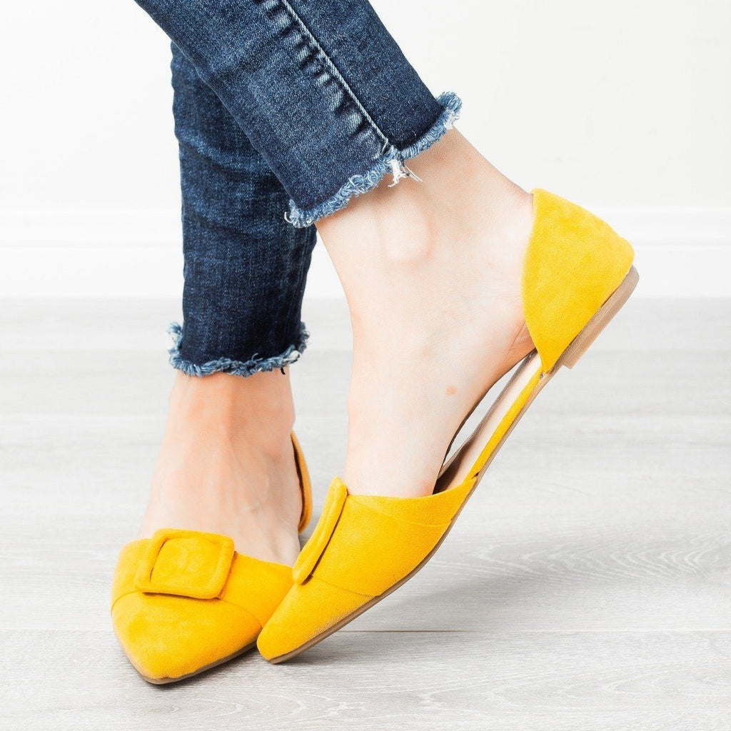 Womens Jumbo Buckle Pointed Toe Flats - Bamboo Shoes - Marigold / 5