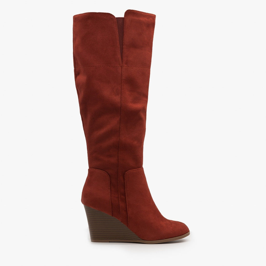 Womens Knee High Boot Wedges - Delicious Shoes - Rust / 5