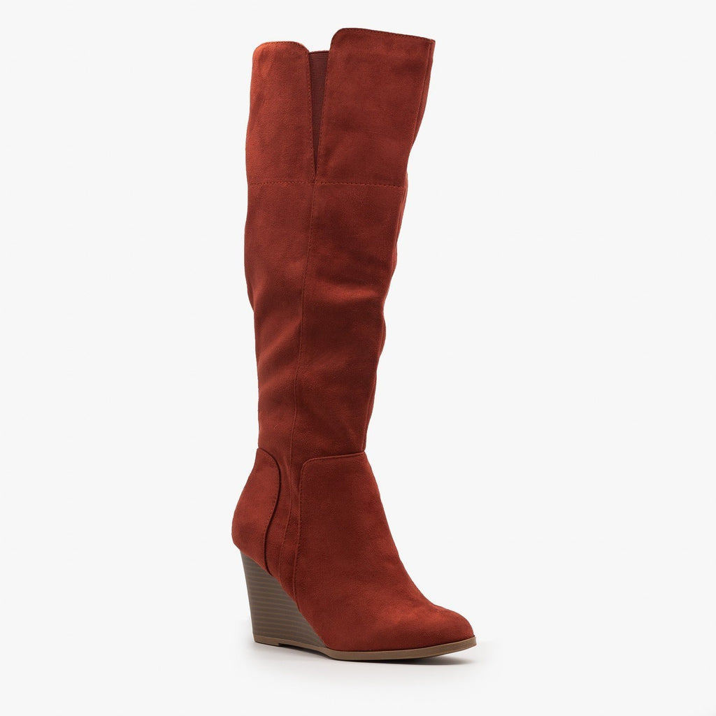 Womens Knee High Boot Wedges - Delicious Shoes