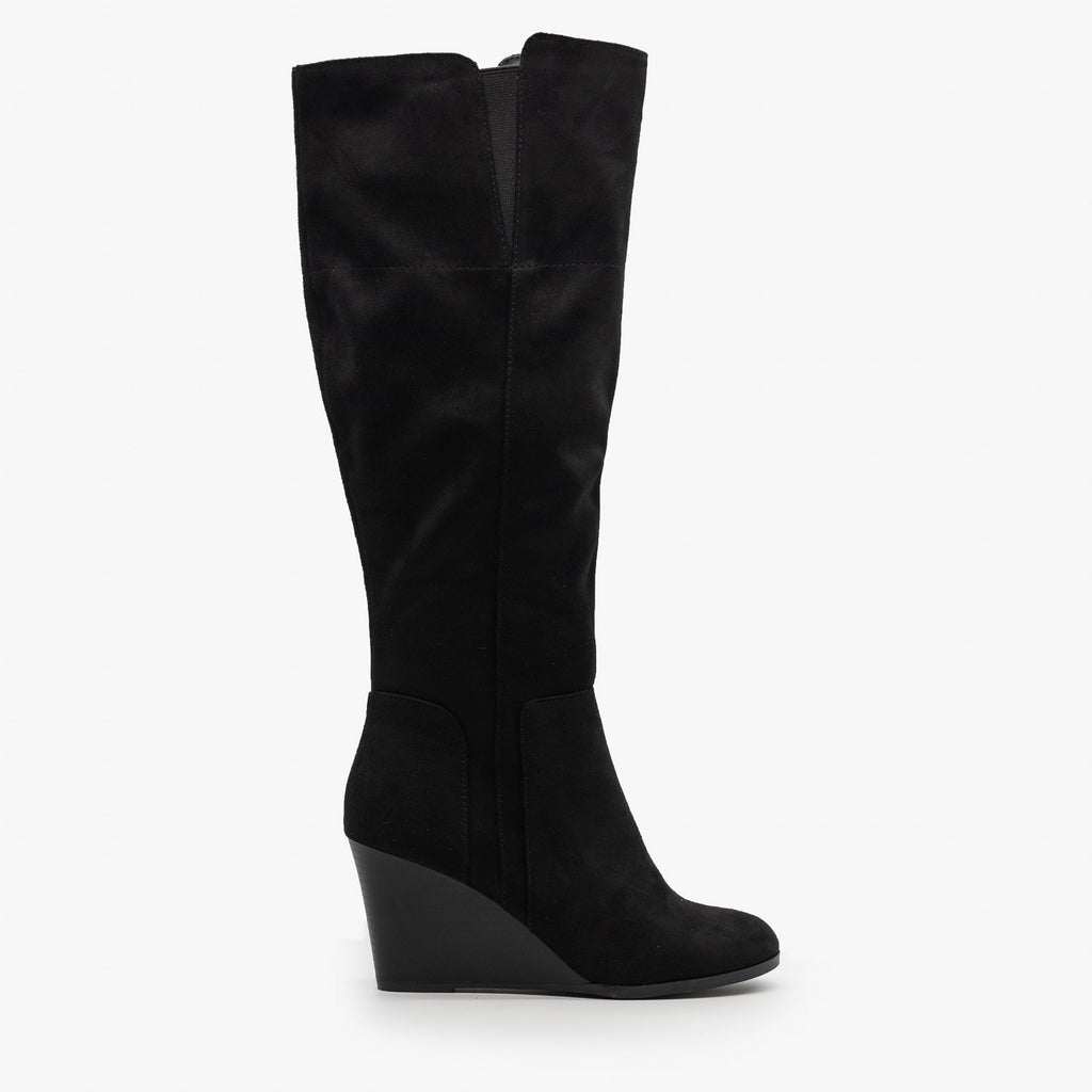 Womens Knee High Boot Wedges - Delicious Shoes - Black / 5