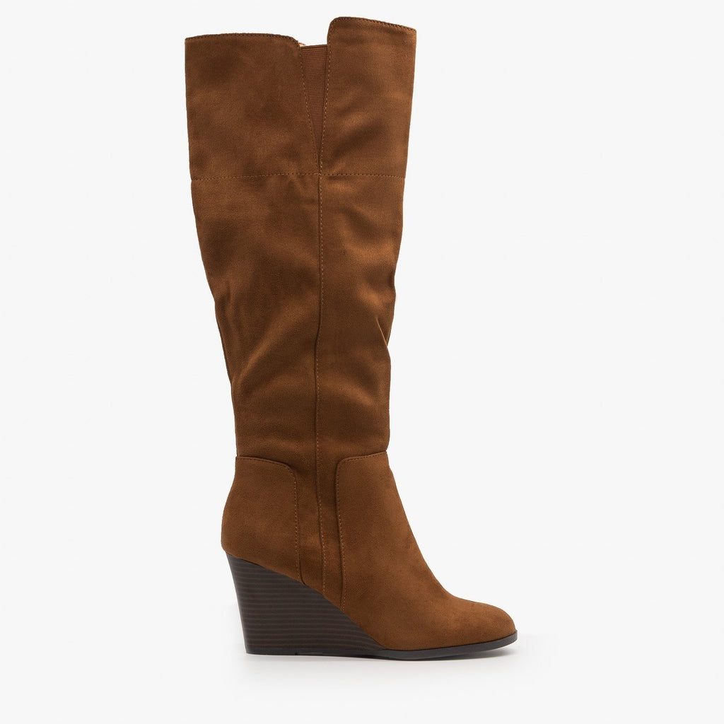 Womens Knee High Boot Wedges - Delicious Shoes - Chestnut / 5