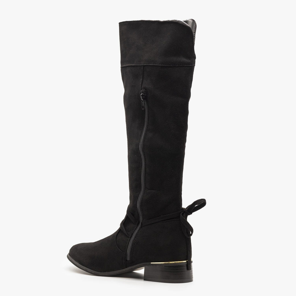 Womens Knee High Gold Accent Boots - Soho Girls