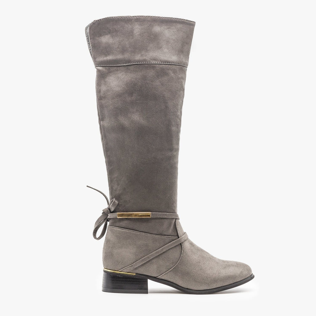 Womens Knee High Gold Accent Boots - Soho Girls - Gray / 5
