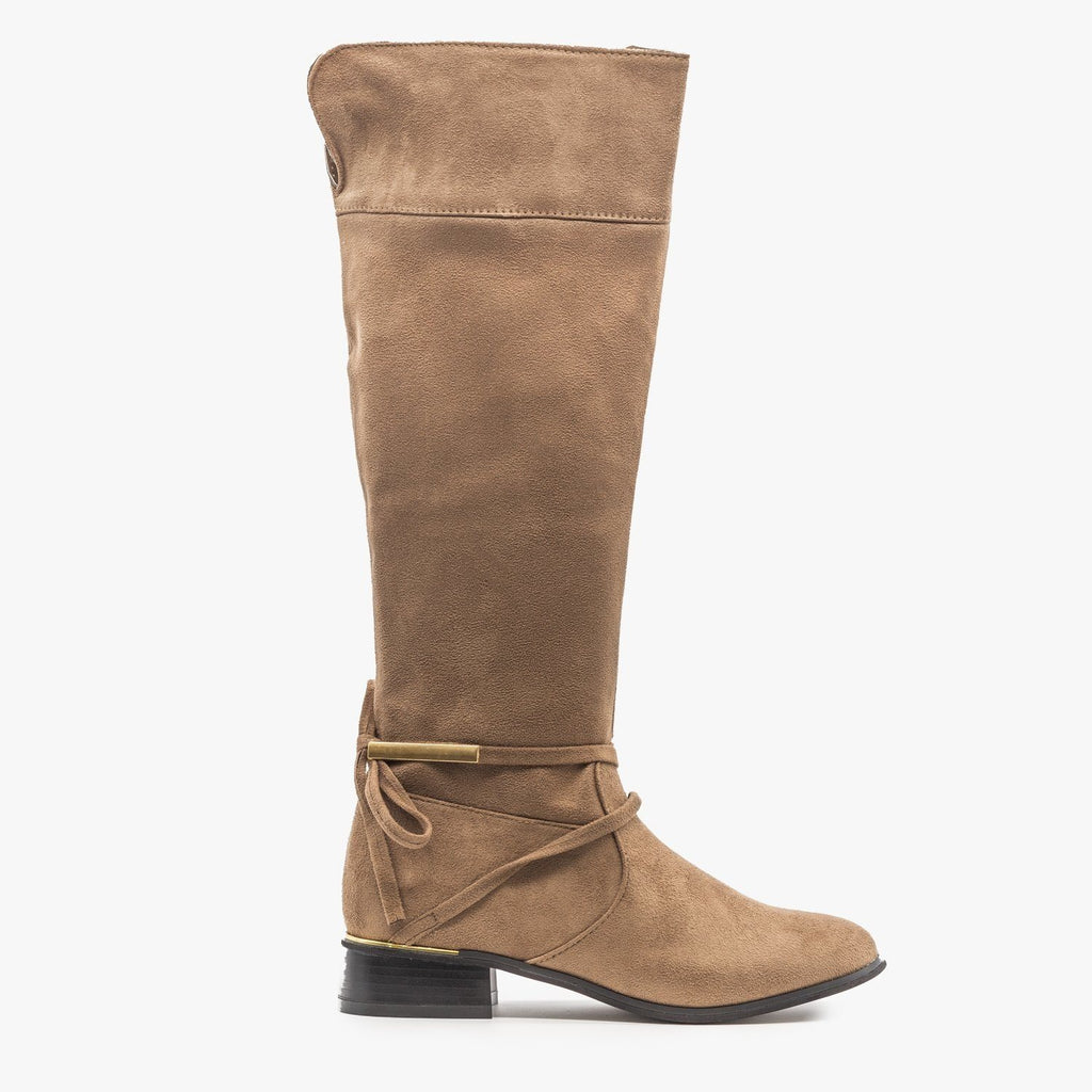 Womens Knee High Gold Accent Boots - Soho Girls - Taupe / 5