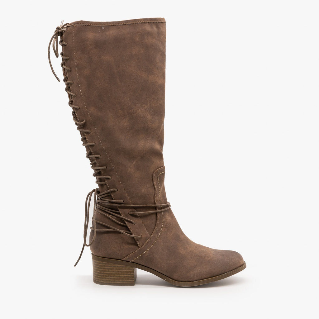 Womens Knee High Lace-Up Boots - AMS Shoes - Brown / 5